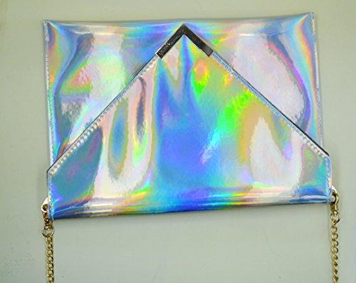Meliya laser a catena da donna olografico borsa a tracolla in pelle PU busta pochette, donna, Silver Silver