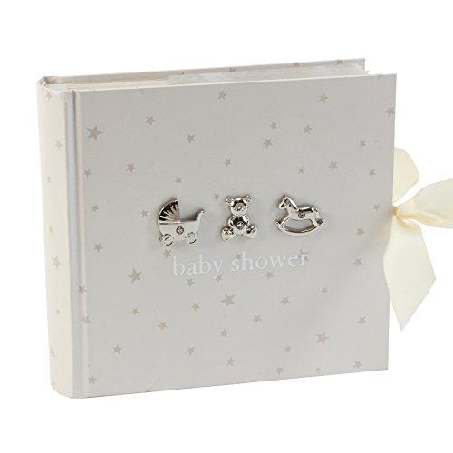 Beautiful Bambino Einsteck-Fotoalbum Baby Shower (Babyparty), 15,2x 10,2cm, Weiß mit silberfarbenen Sternen und Symbolen