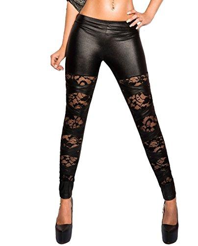 Glamour Stretch Leggins Risse unterlegt mit Spitze, Netz oder Leo Muster auch im Leder Look Größe (34-40) (Sexy Black Spitze) (Spitzen-muster Sexy)
