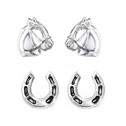 FIVE-D 2 Paar Ohrringe Pferd und Hufeisen 925 Sterling Silber im Schmucketui (Set-1)