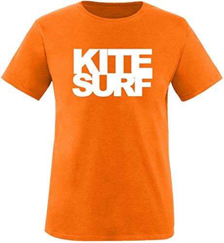 EZYshirt® Kitesurf Herren Rundhals T-Shirt Orange/Weiß