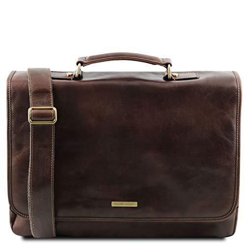 Tuscany Leather Mantova - Cartella TL SMART multiscomparto in pelle con pattella - TL141450 (Testa di Moro)