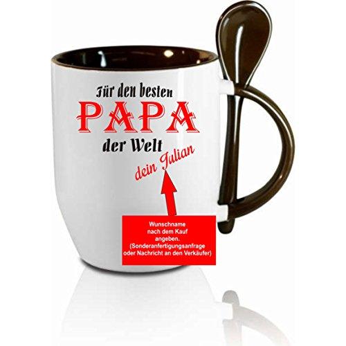 Tasse m. Löffel - ' für den besten Papa der Welt dein...(Wunschname) ' - Kaffeetasse mit Motiv,...