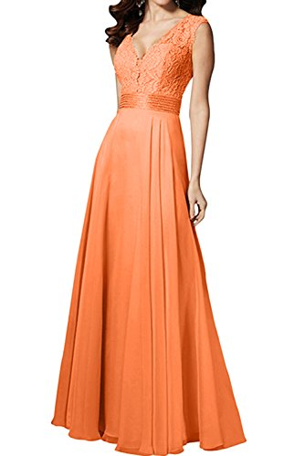 Ivydressing Damen Spitze Lang Abendkleider V-Ausschnitt Lang Festkleid Promkleid Ballkleider Orange