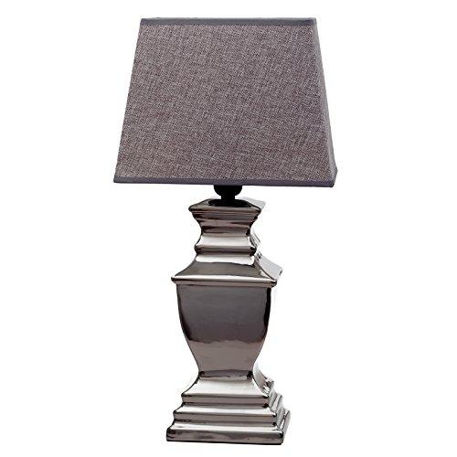 Preisvergleich Produktbild Lampe Big London mit weißem oder greuen Schirm Tischleuchte Keramik Silver Platet Silber Lampe Shabby Chic Stehlampe (Grau)