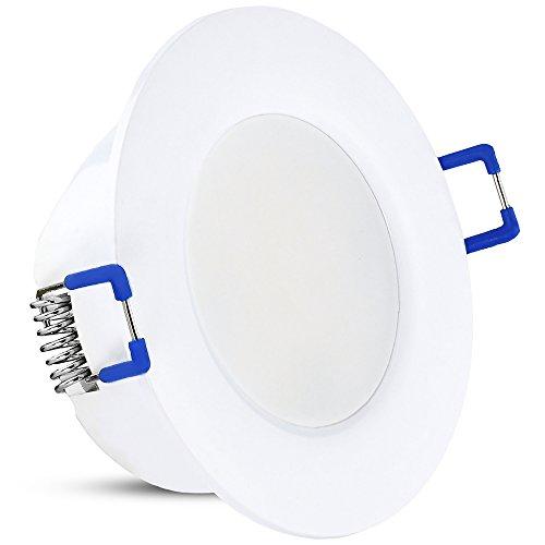 linovum® IP44 LED Einbauleuchten 10er Set extra flach Downlight Modul in warmweiß 2700K, 5W, 450lm, 110° für Bad, Küche, Möbel oder außen