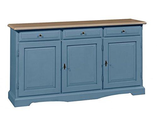 Vintage home credenza base in legno a 3 porte e 3 cassetti l156x42x85h