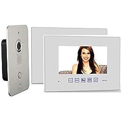 2 Draht Video Türsprechanlage Gegensprechanlage - 2x 7 Zoll Monitor