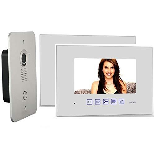 2 Draht Video Türsprechanlage Gegensprechanlage mit 7 '' Monitor (2x Glas in weiß)