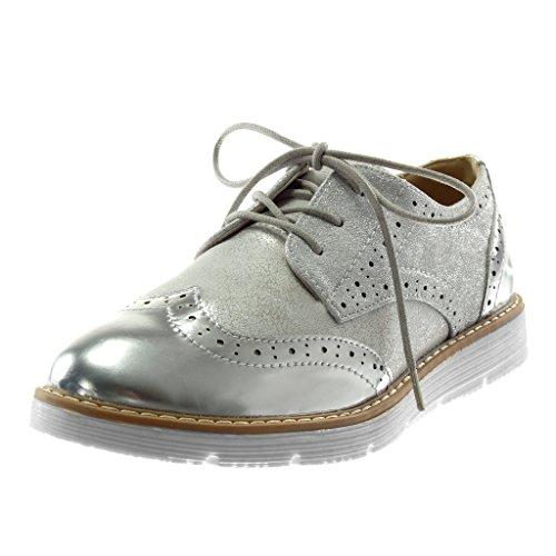 Angkorly Damen Schuhe Derby-Schuh - Vintage-Stil - Metallischen - Perforiert - Crackle-Effekt Flache Ferse 2.5 cm Silber