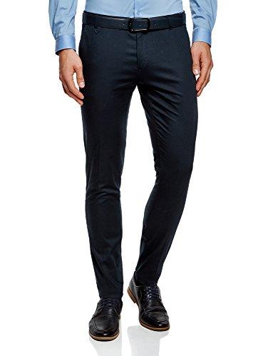 oodji Ultra Uomo Pantaloni Cotone con Trama Minuscola Jacquard Blu IT 46 / EU 42