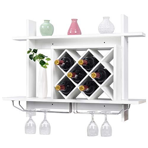 Blitzzauber24 portabottiglie vino da parete in legno bianco scaffale porta bottiglie vino con portabicchieri 80x58,5x20cm