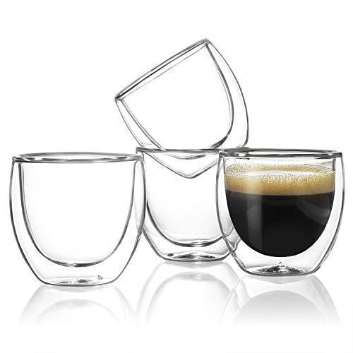sweese 4301Espresso Tassen-4Unze, doppelwandig isoliert Glas-Set von 4 (Sechs Alphas Heiße)
