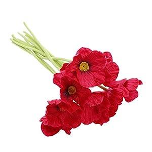 VORCOOL 9 Piezas de Flores Artificiales de artesanía Flor de Amapola Somnus para la decoración de Navidad en casa (Rojo)