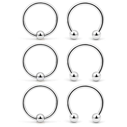 VFUN 6 Parts 16G 316L Stainless Steel Piercing Nose Ring Hoops Cartilage Septum Lip Helix Tragus Eyebrow Piercing Ear Piercing 12mm - Silver