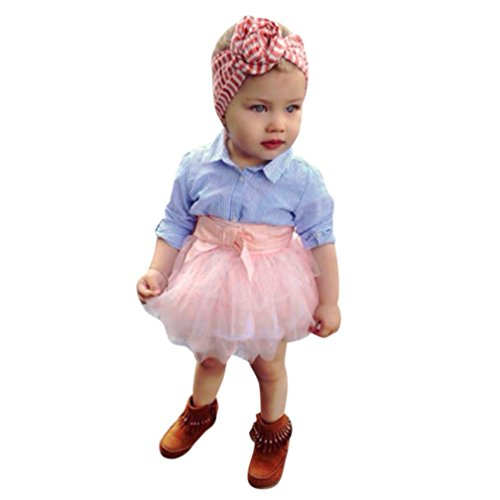 Malloom® 2 Stücke Kleinkind Baby Mädchen Bogen Gestreiften Tops + Tutu Rock Set Infant Outfits Kleidung (blau ´+ rosa, 80) (Rock Layered Print)