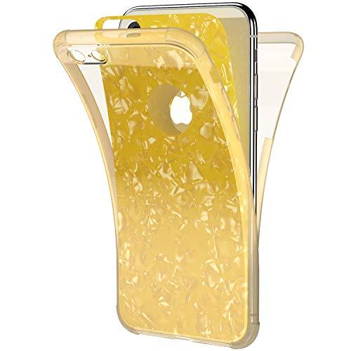 Ysimee Coque Compatible pour iPhone 5S/Se 360 Degrés Étui en Transparente Silicone Double Face Couverture Protection Complète Avant et Arrière Antichoc Bumper Ultra Slim Housse Motif Coquillage,Or