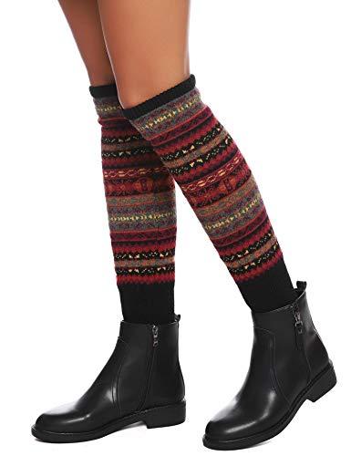 ARBLOVE Boemia Scaldamuscoli donna Lungo inverno Lana Knit Crochet Ginocchio Alto Gambale Scaldamuscoli Boot Socks