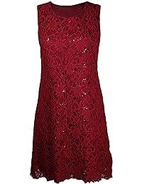 Frauen plus Größe floraler Spitze Pailletten gesäumt lange Weste ärmelloses Kleid