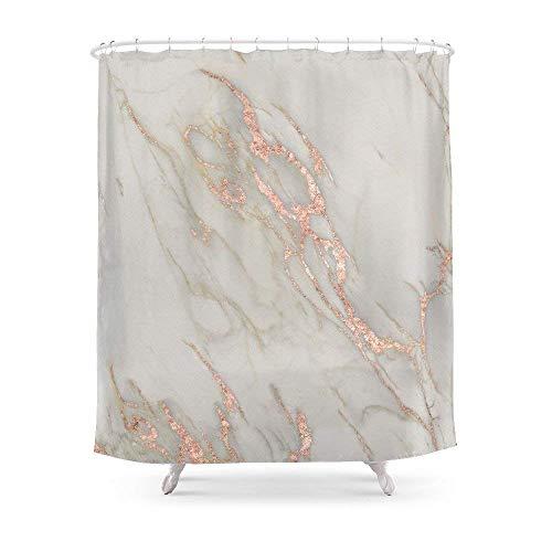 QianruB-No. 1Marmor-Rose Gold Marmor Metallic Blush Pink Vorhang für die Dusche 182,9cm von 182,9cm - Vorhang Dusche Liner-navy Blau