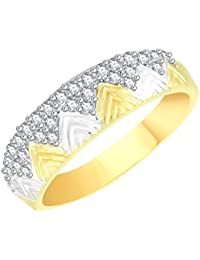 VK Jewels Royal Gold And Rhodium Plated Alloy CZ American Diamond Ring For Men [VKFR2638G]