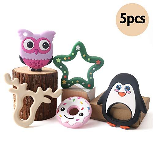 baby tete Set de Dentition en Silicone Baby 5pc Wapiti Anneau de Dentition des Pingouins Jouets de Soulagement de la Douleur