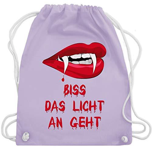 Halloween - Biss das Licht an geht Vampir - Unisize - Pastell Lila - WM110 - Turnbeutel & Gym Bag (Fledermaus Lichter Halloween Lila)