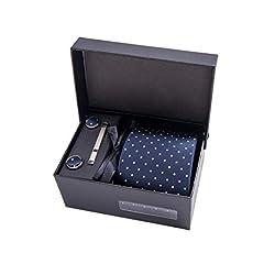 Idea Regalo - Massi Morino ® Cravatta uomo + Gemelli + Fazzoletto (Set cravatta uomo) regalo uomo con confezione regalo (Blu scuro puntini)