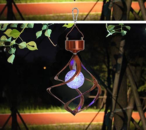 ZYY Solar betriebene Pendelleuchte 7 Farben Jump Wind Spining LED Farbwechsel Kreative Hängelampe für Hall Party Garten Terrasse Landschaft Weg Dekoration Deckenbeleuchtung Ø16cm * H23cm, Gold Farben