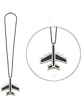 Halskette mit Anhänger Flugzeug auf eine Kugelkette (Gold Schwarz) Made mit Acryl von Joe Cool