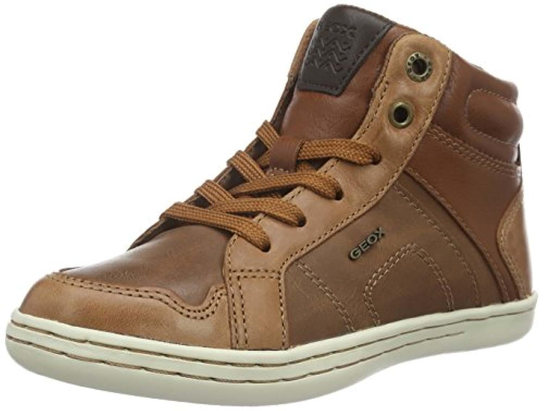 Geox Boys' Jr Garcia C Hi-Top Sneakers, Braun (COGNACC6001), 33 UK
