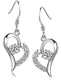 Chaomingzhen rhodiniert 925 Sterling Silber Herz und Pfeil Zirkonia Charm Herz baumeln Ohrring für Damen Weise Schmuck