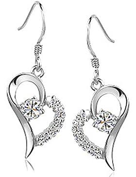 Chaomingzhen rhodiniert 925 Sterling Silber Herz und Pfeil Zirkonia Charm Herz baumeln Ohrring für Damen Weise...