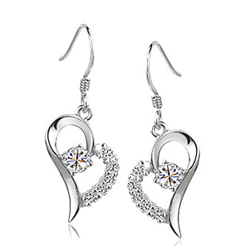 Chaomingzhen 925 Sterling Silver Rhodium Plated Cubic Zirconia Heart Dangle Earring Women