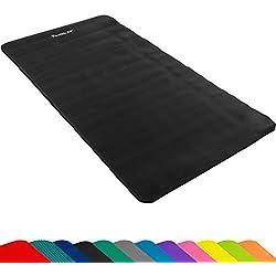 MOVIT® - Esterilla para pilates - Sin ftalatos - Homologada por la SGS - Largo 190 cm x 100cm - Grosor 1,5 cm - Color Negro estera de yoga y pilates -Colchoneta de yoga