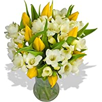 Mellow Yellow Bouquet - A luscious arrangement of Yellow Tulips and fragrant White Freesias