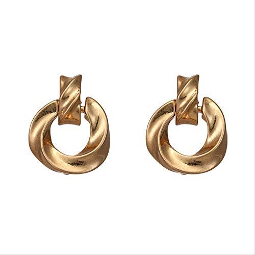 g geometrische baumeln Ohrringe Twisted Circle Vintage hochwertige Ohrringe für Frauen Partei Schmuck GeschenkGold-Farbe ()