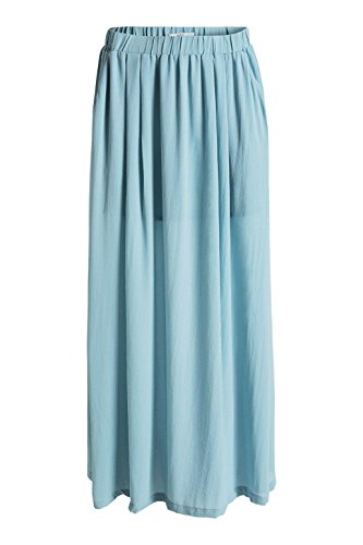 edc by ESPRIT Damen Rock 056cc1d007 - Maxi Blau (LIGHT TURQUOISE 480)