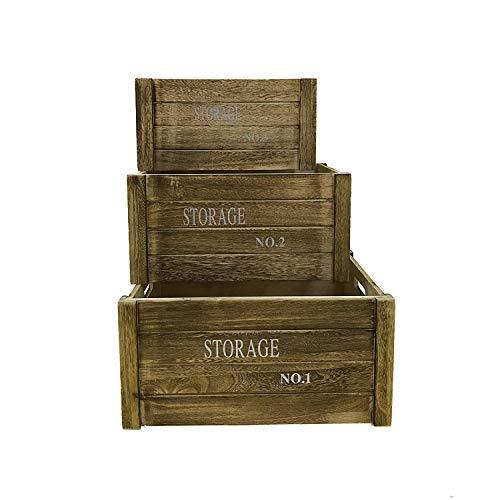 Rebecca Mobili Juego3 pz caja de madera vintage, cajas frutas ideas decoupage salón cocina, marrón - Medidas: 20 x 41 x 31 cm ( AxANxF) - Art. RE4475