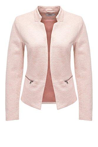 ONLY Damen Anzugjacke Onlstory Mel Zip Blazer CC Tlr, Rosa (Rose Smoke Detail:Melange), 42