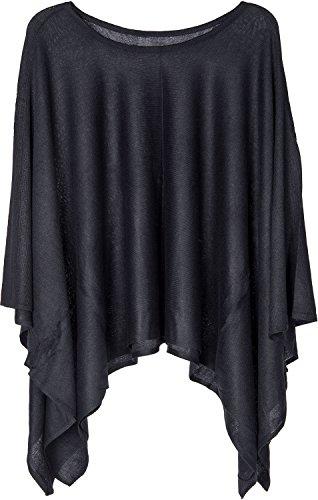 styleBREAKER Feinstrick Poncho leicht und Unifarben, Rundhals, Damen 08010047, Farbe:Schwarz - Kinder-erwachsenen-sweatshirt Mit Rundhalsausschnitt
