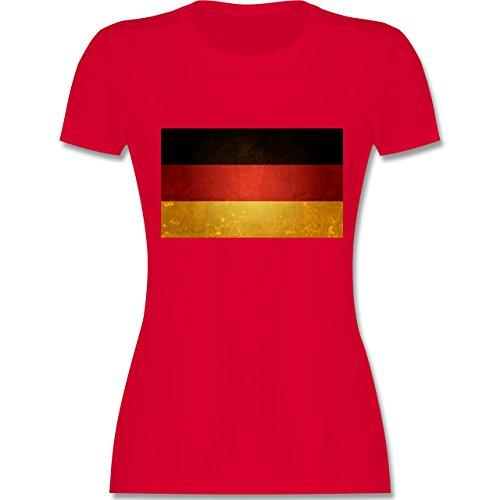 EM 2016 - Frankreich - Flagge Deutschland - tailliertes Premium T-Shirt mit Rundhalsausschnitt für Damen Rot