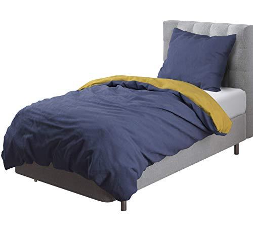 Aminata Kids - Wende-Bettwäsche-Set 135-x-200 cm Uni-Farben-Motiv EIN-farbig-e 100-% Baumwolle Renforce dunkel-blau gelb Teenager Jugendlich-e (Queen Dunkelblau Bettwäsche)