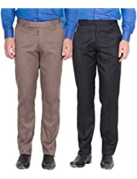 American-Elm Men's Light Brown, Black Colour Formal Trousers- Pack Of 2