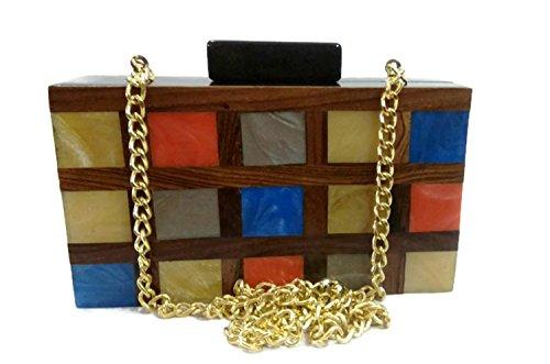 Handmade wallet wooden bag women's party clutch cross body vintage wooden purse (Kupplung Sling Purse)