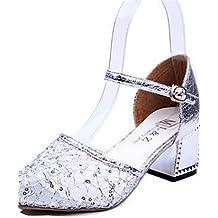 ZQ Zapatos de mujer-Tac¨®n Robusto-Tacones-Tacones-Vestido / Fiesta y Noche-Encaje-Plata / Oro , silver-us8.5 / eu39 / uk6.5 / cn40 , silver-us8.5 / eu39 / uk6.5 / cn40