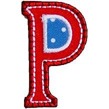 P maiuscolo 9cm rojo azul El Regalo Del Bebé Diy Diseño Decorativo Decoración para reparar vaqueros camisa almohada placa banderín bandera bolsa bolsillo ...