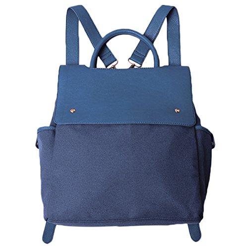 Retro Einfarbige Weiche Gesicht Frauen Rucksack Leinwand Umhängetasche Blue