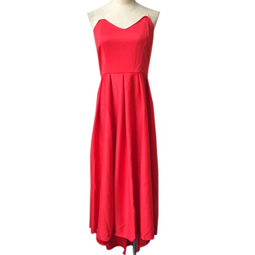 QIYUN.Z Frauenabendbrautjungfer Roten Kleid Abend Party-Cocktail Prom Kleid Trägerlos Rot