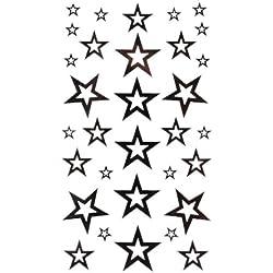 King Horse tatouage autocollant de la mode sexy noir étoile à cinq branches totem